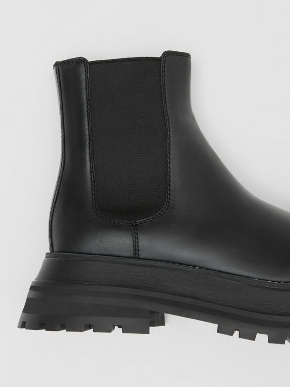 Leather Chelsea Boots in Black/black - Women | Burberry - cell image 1