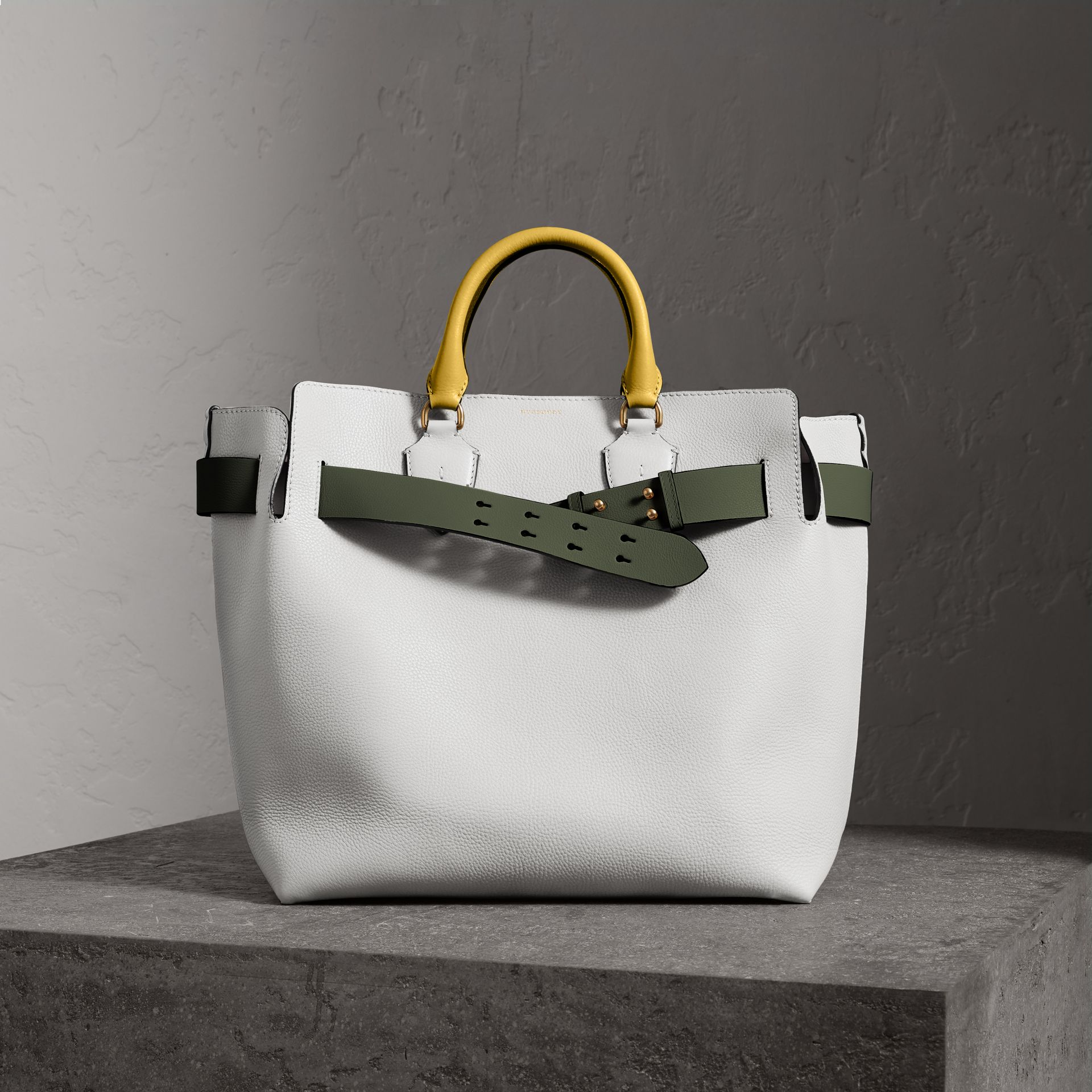 The Large Leather Belt Bag in Chalk White | Burberry Australia - gallery image 0