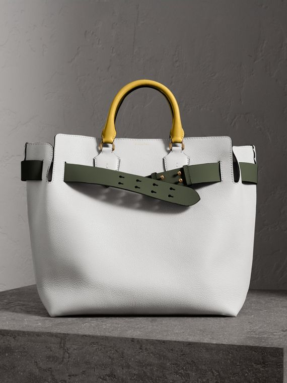 Grand sac The Belt en cuir (Blanc Craie)