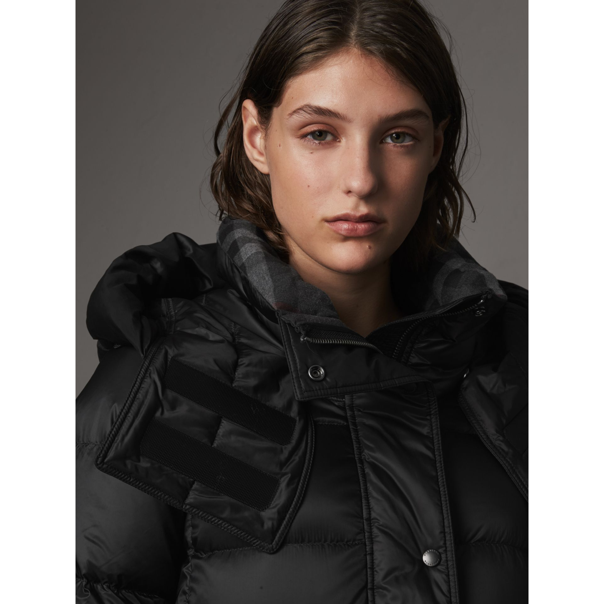 Detachable Hooded Down-filled Puffer Coat in Black - Women | Burberry - gallery image 1