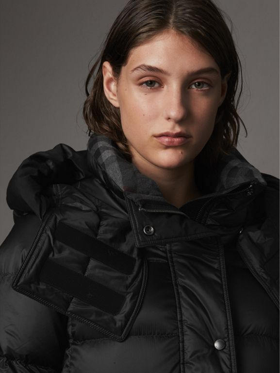 Detachable Hooded Down-filled Puffer Coat in Black - Women | Burberry - cell image 1
