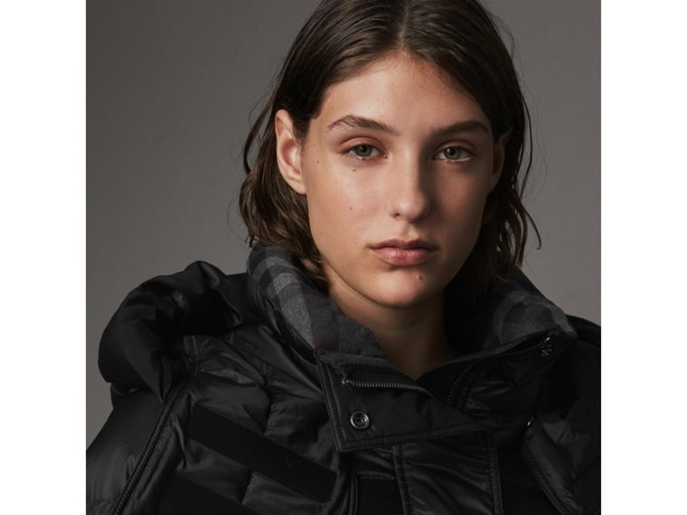 Detachable Hooded Down-filled Puffer Coat in Black - Women | Burberry United States - cell image 1