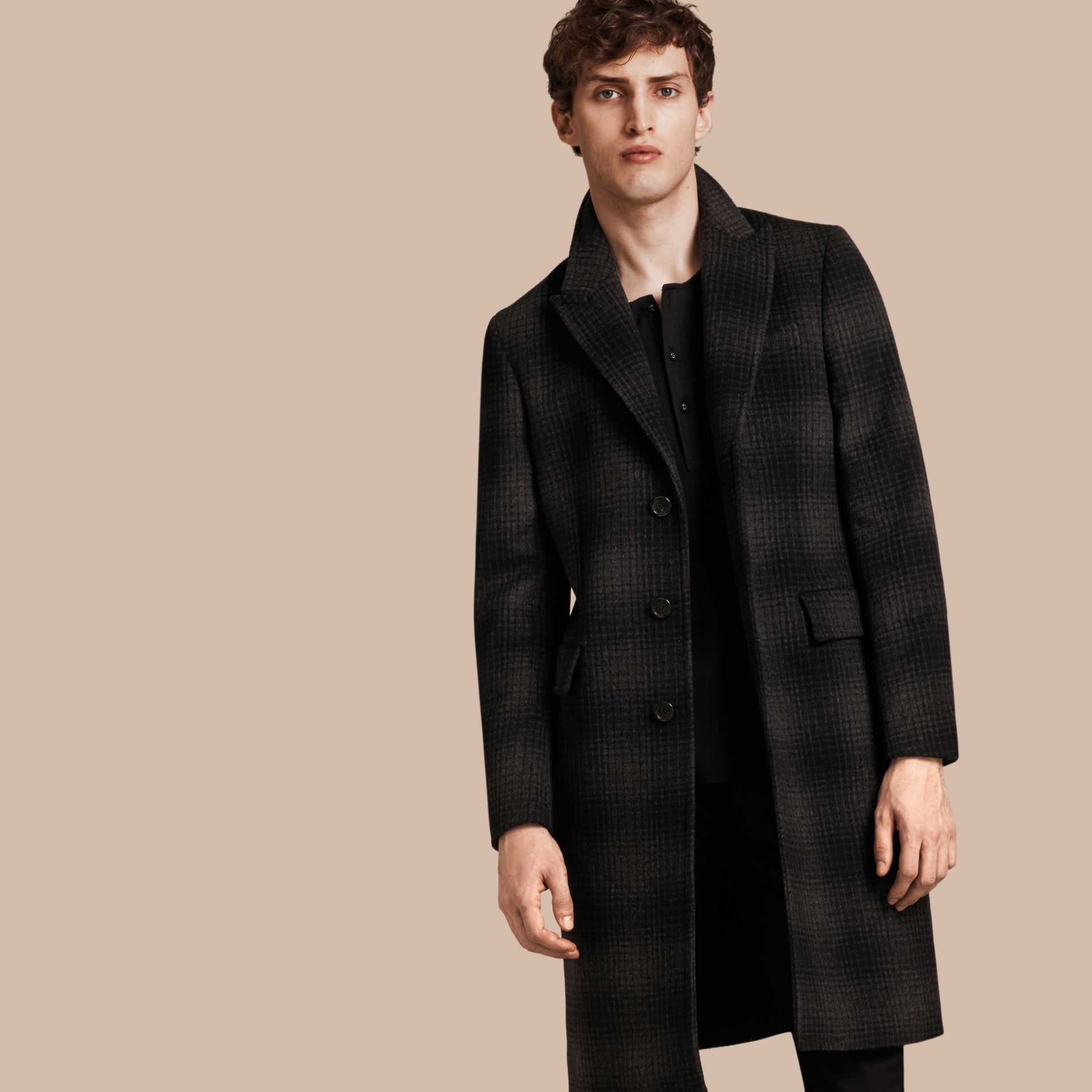 Charcoal melange Tailored Check Wool Cashmere Coat - gallery image 1