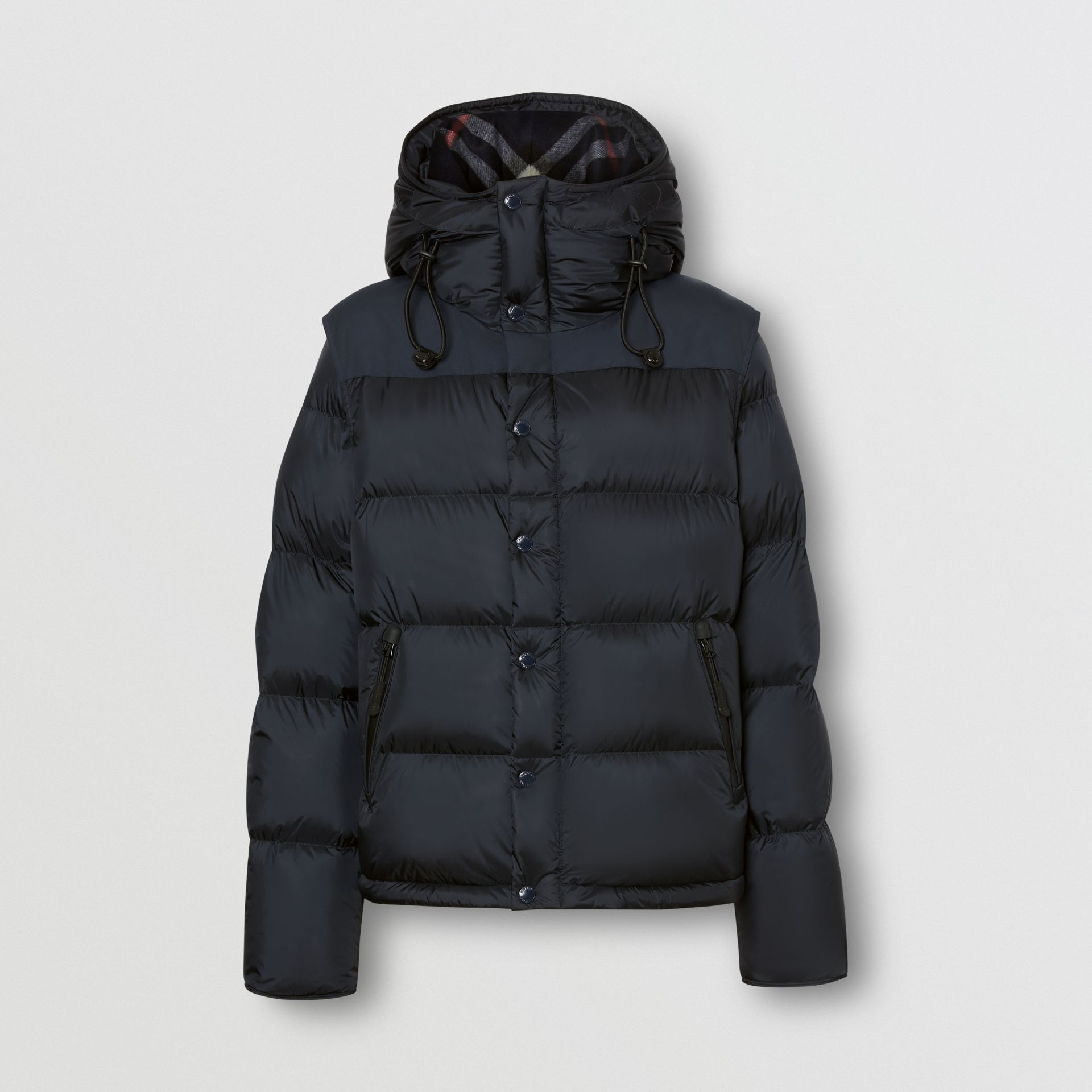 Detachable Sleeve Hooded Puffer Jacket in Navy - Men | Burberry - gallery image 3