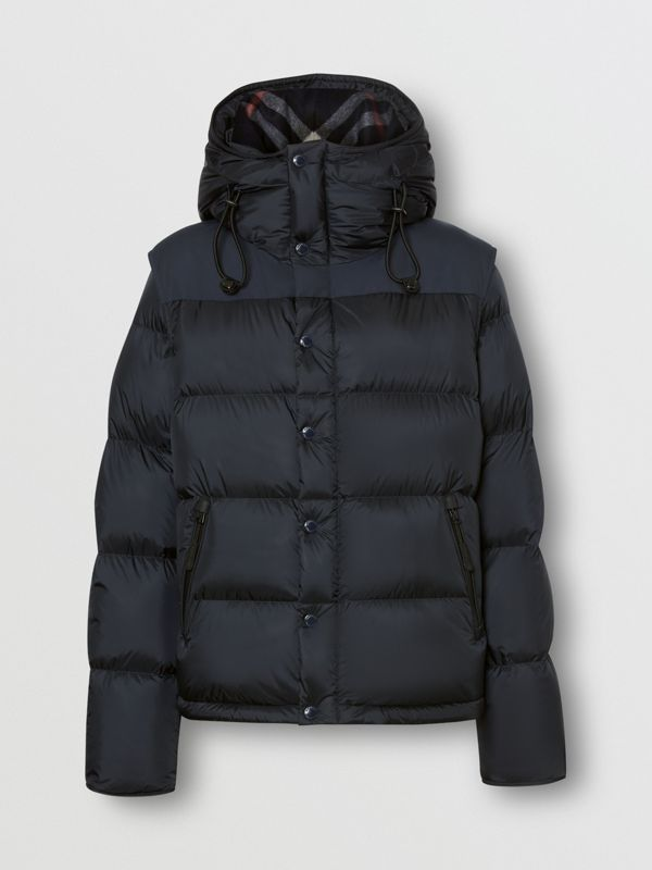 Detachable Sleeve Hooded Puffer Jacket in Navy - Men | Burberry Canada - cell image 3