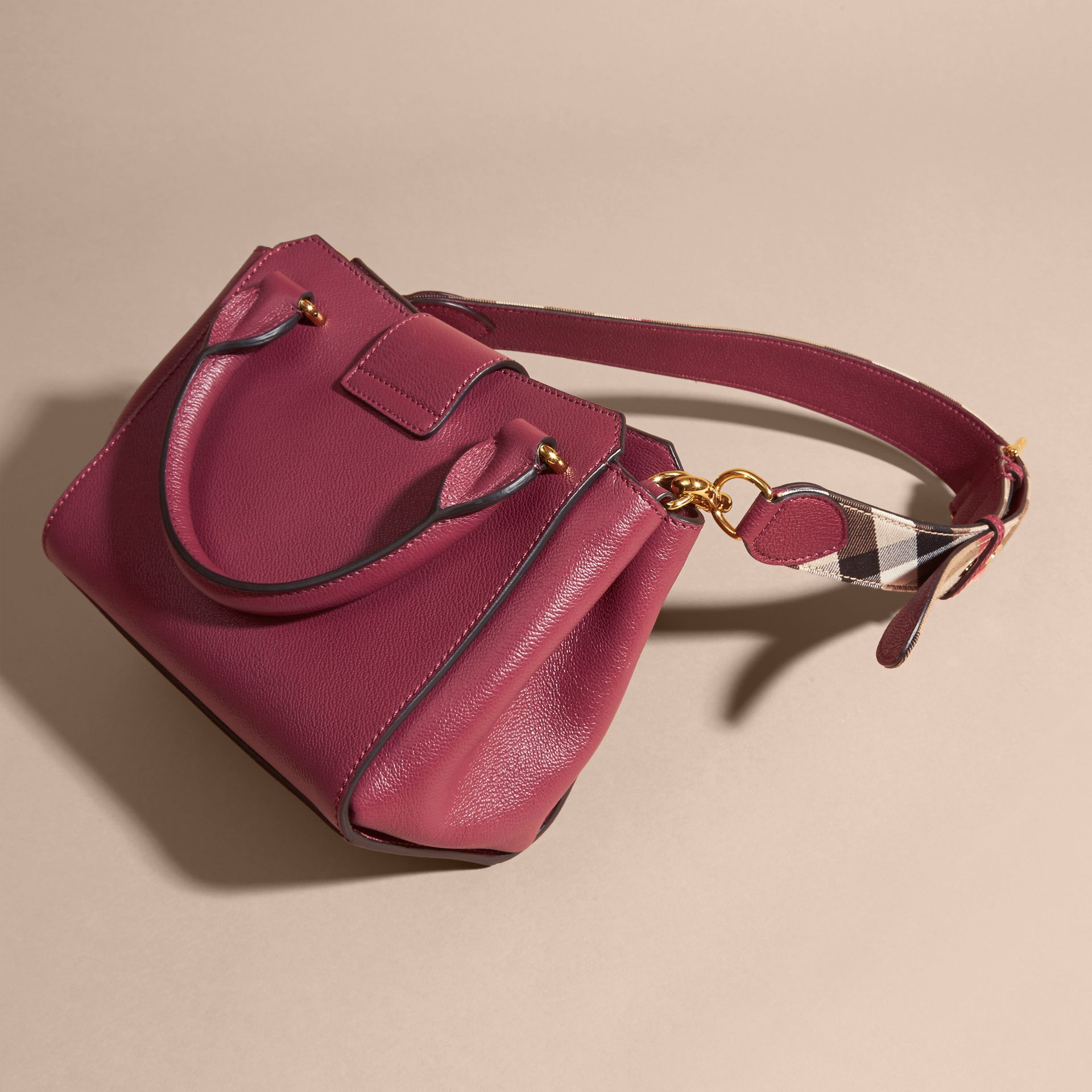 Dark plum The Small Buckle Tote in Grainy Leather Dark Plum - gallery image 5