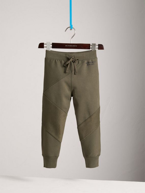 Panelled Cotton Jersey Sweatpants in Olive