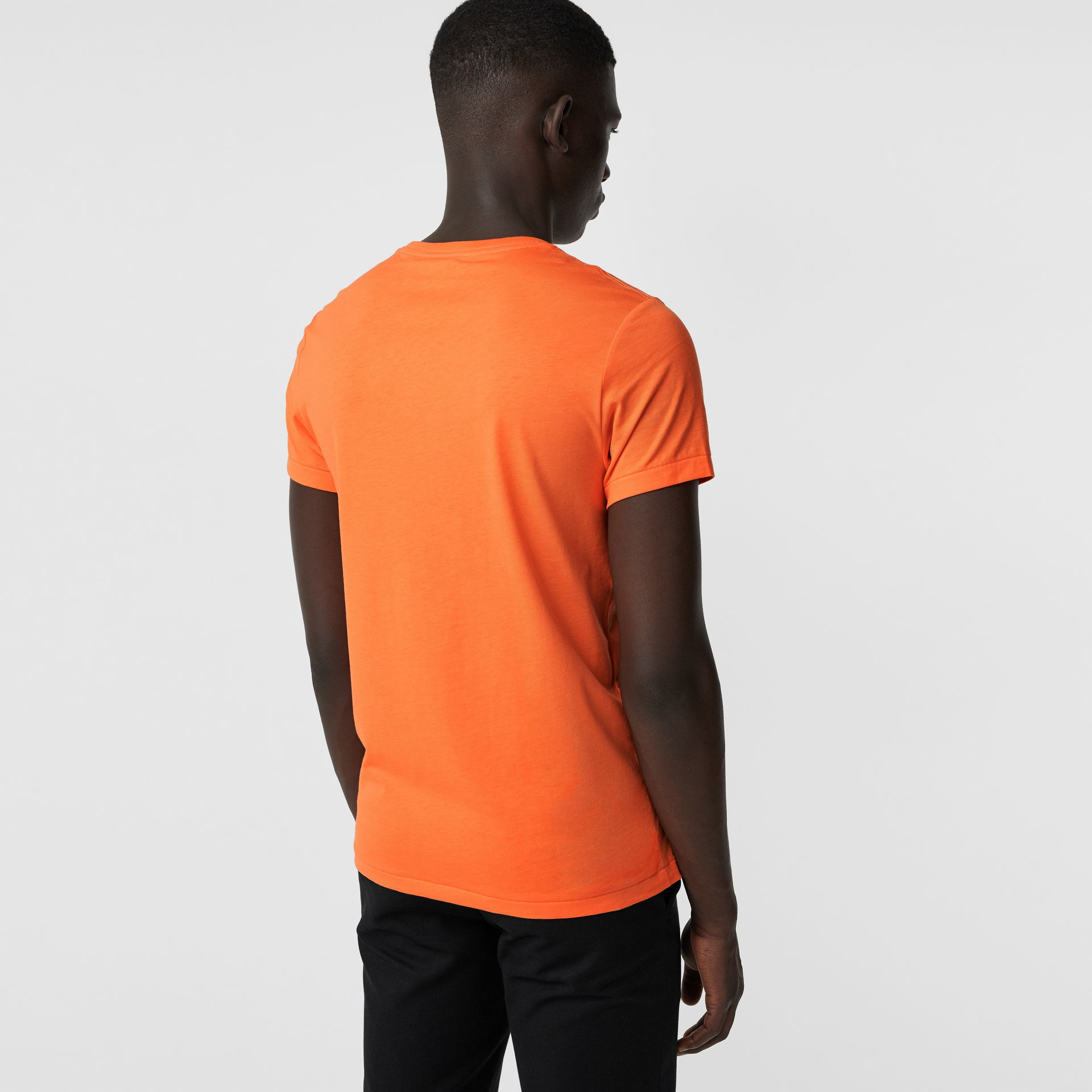 Cotton Jersey T-shirt in Bright Orange - Men | Burberry - gallery image 2