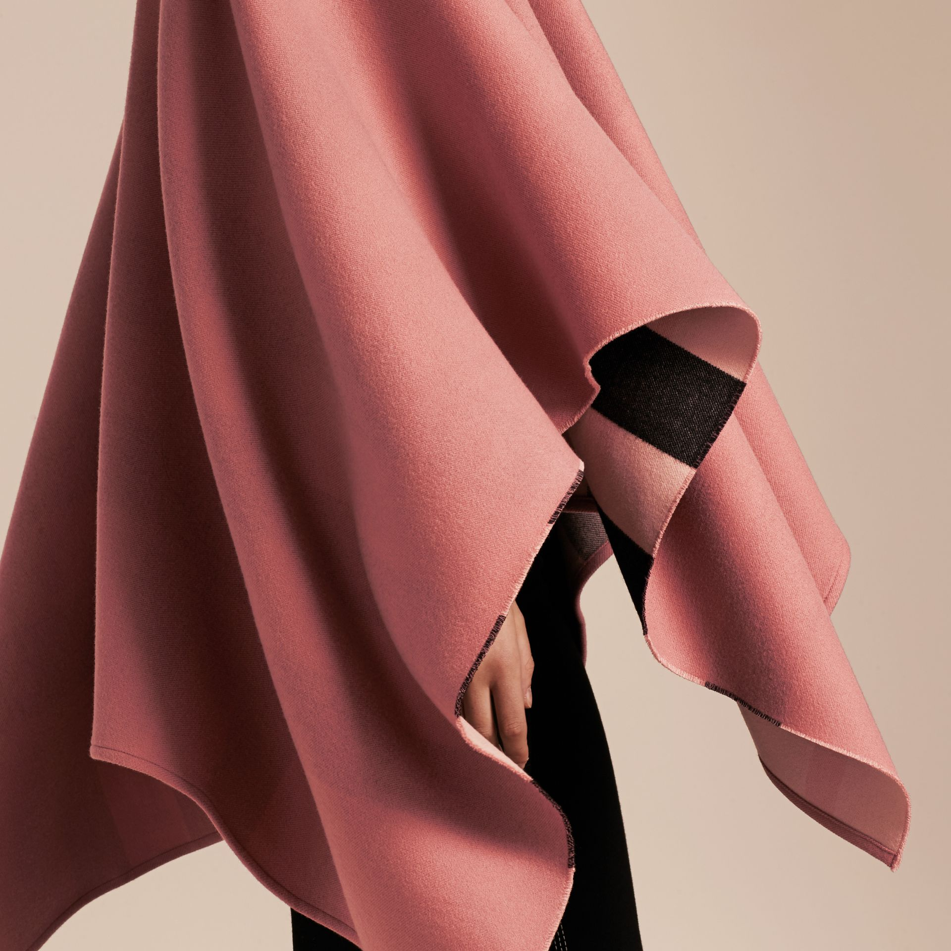 Reversible Check Merino Wool Poncho in Ash Rose - Women | Burberry - gallery image 5