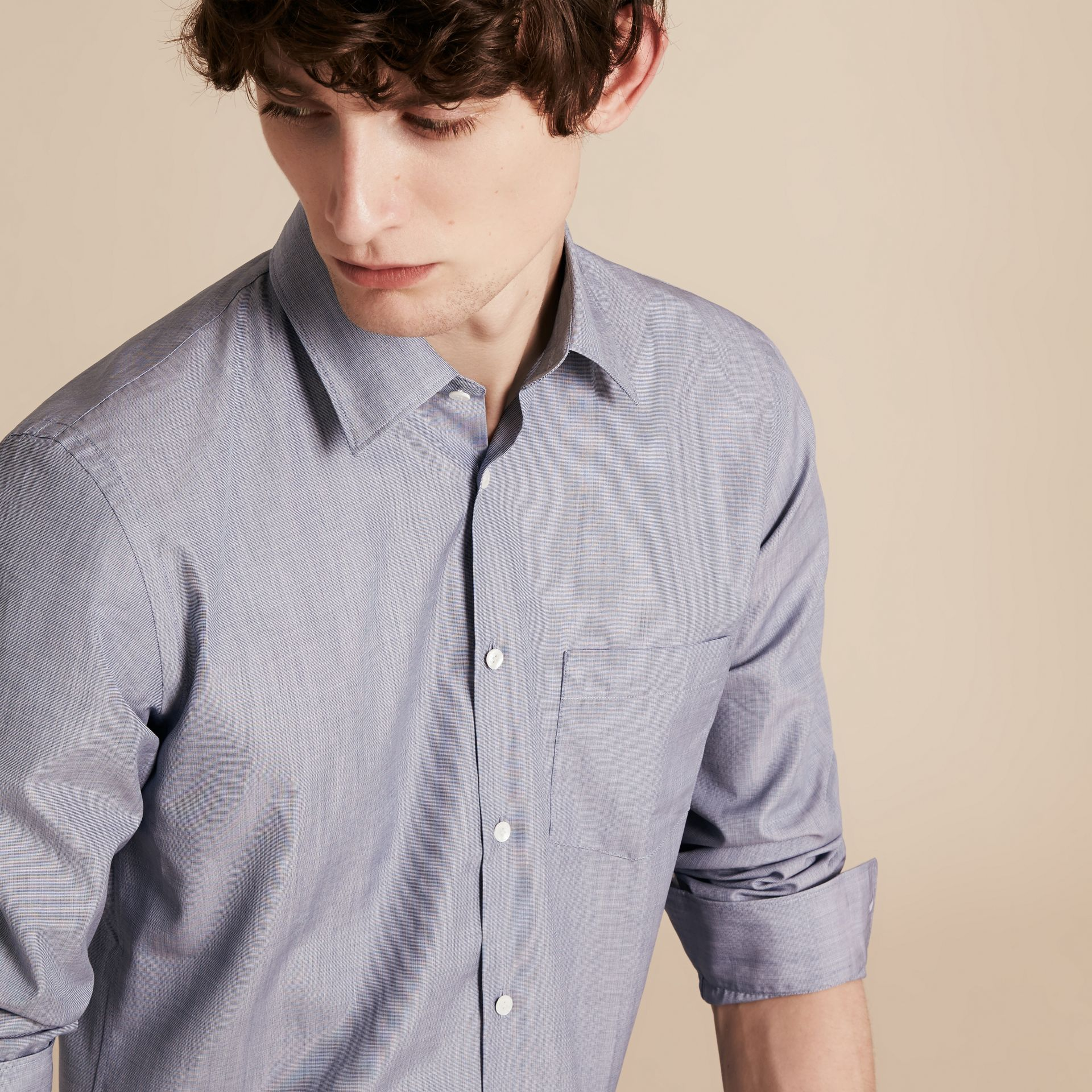 Light blue Mélange Cotton Shirt Light Blue - gallery image 5