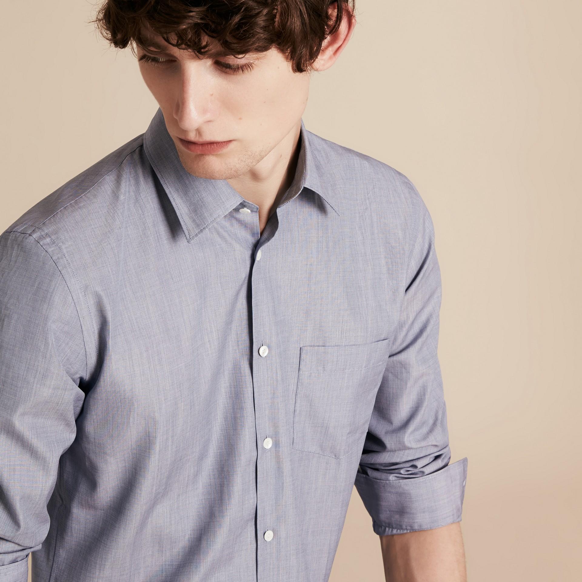 Light blue Camisa de mescla de algodão Light Blue - galeria de imagens 5