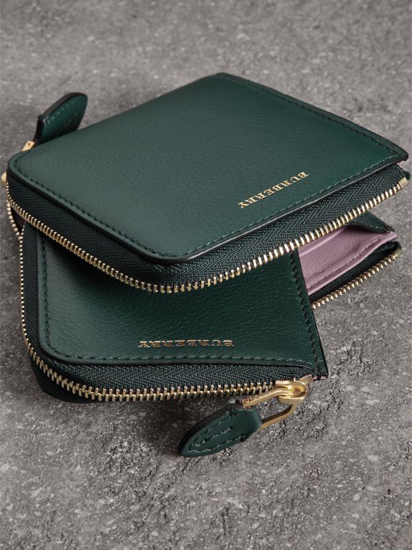 Grainy Leather Square Ziparound Wallet in Dark Cyan - Women | Burberry Hong Kong - cell image 3