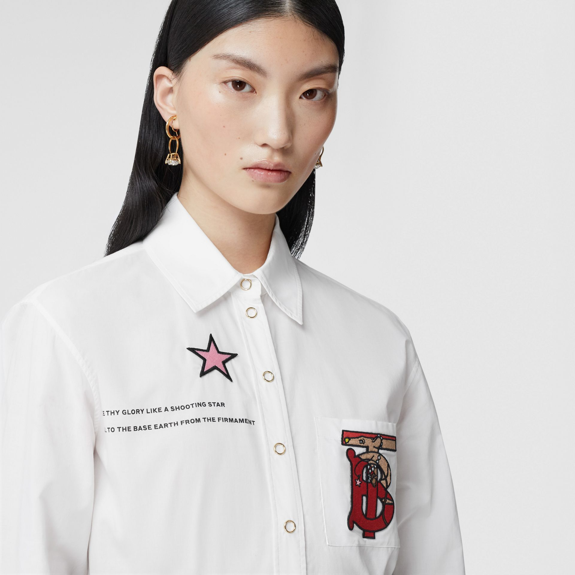 Montage Print Cotton Shirt in White - Women | Burberry Canada - gallery image 7