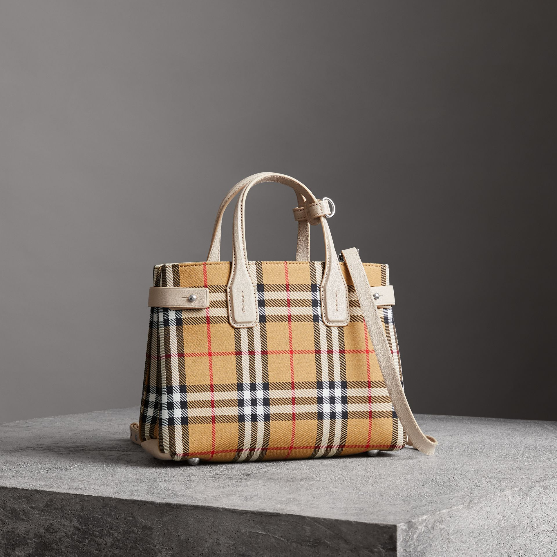 The Small Banner in Vintage Check and Leather in Limestone - Women | Burberry - gallery image 0