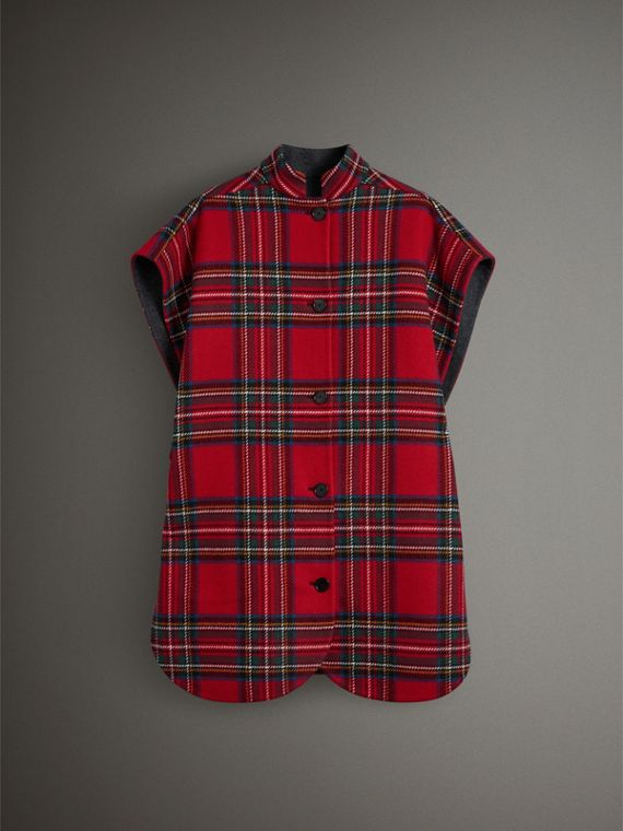 Reversible Tartan Wool Cashmere Poncho in Bright Red/dark Grey - Women | Burberry - cell image 3