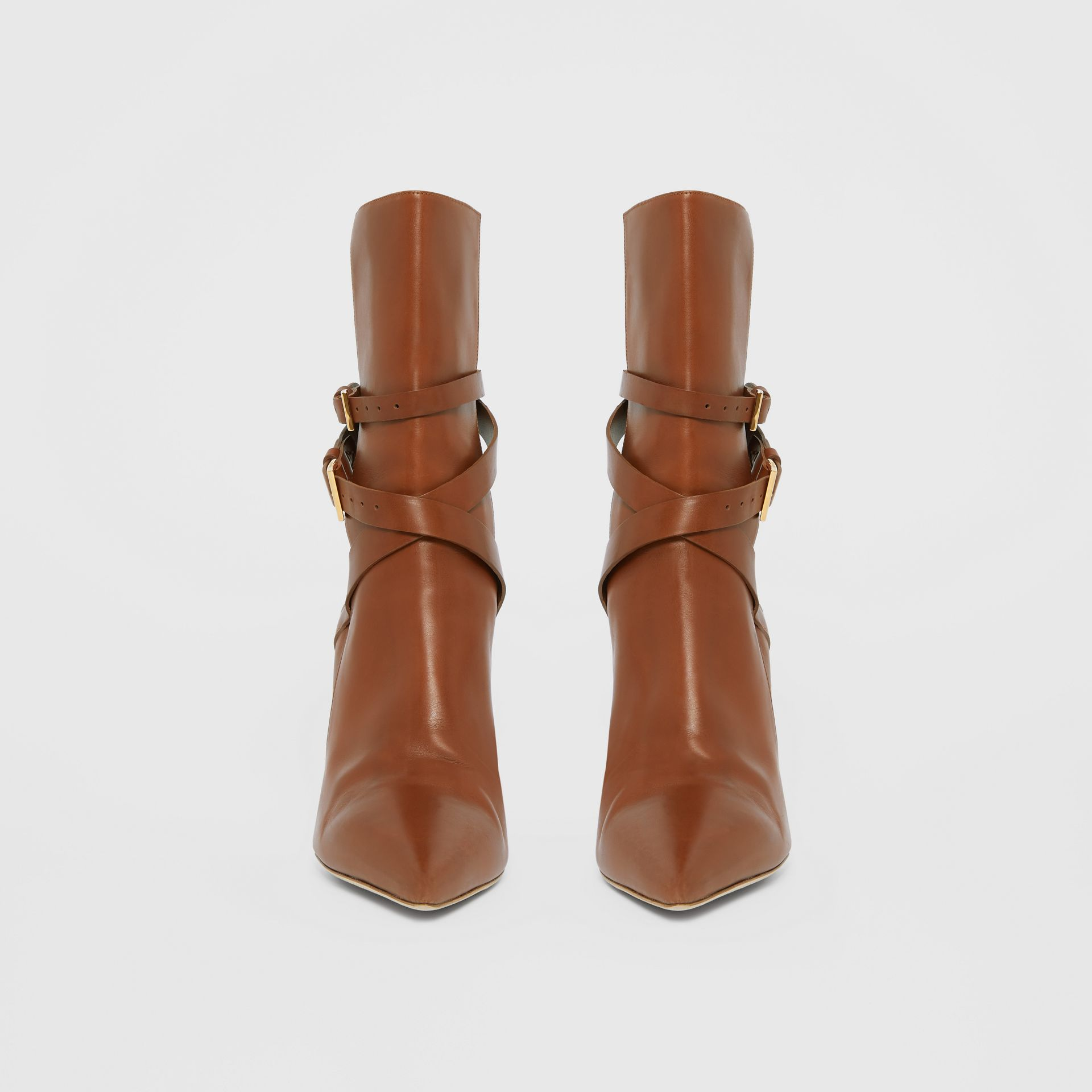 Strap Detail Leather Ankle Boots in Tan - Women | Burberry Hong Kong S.A.R - gallery image 3