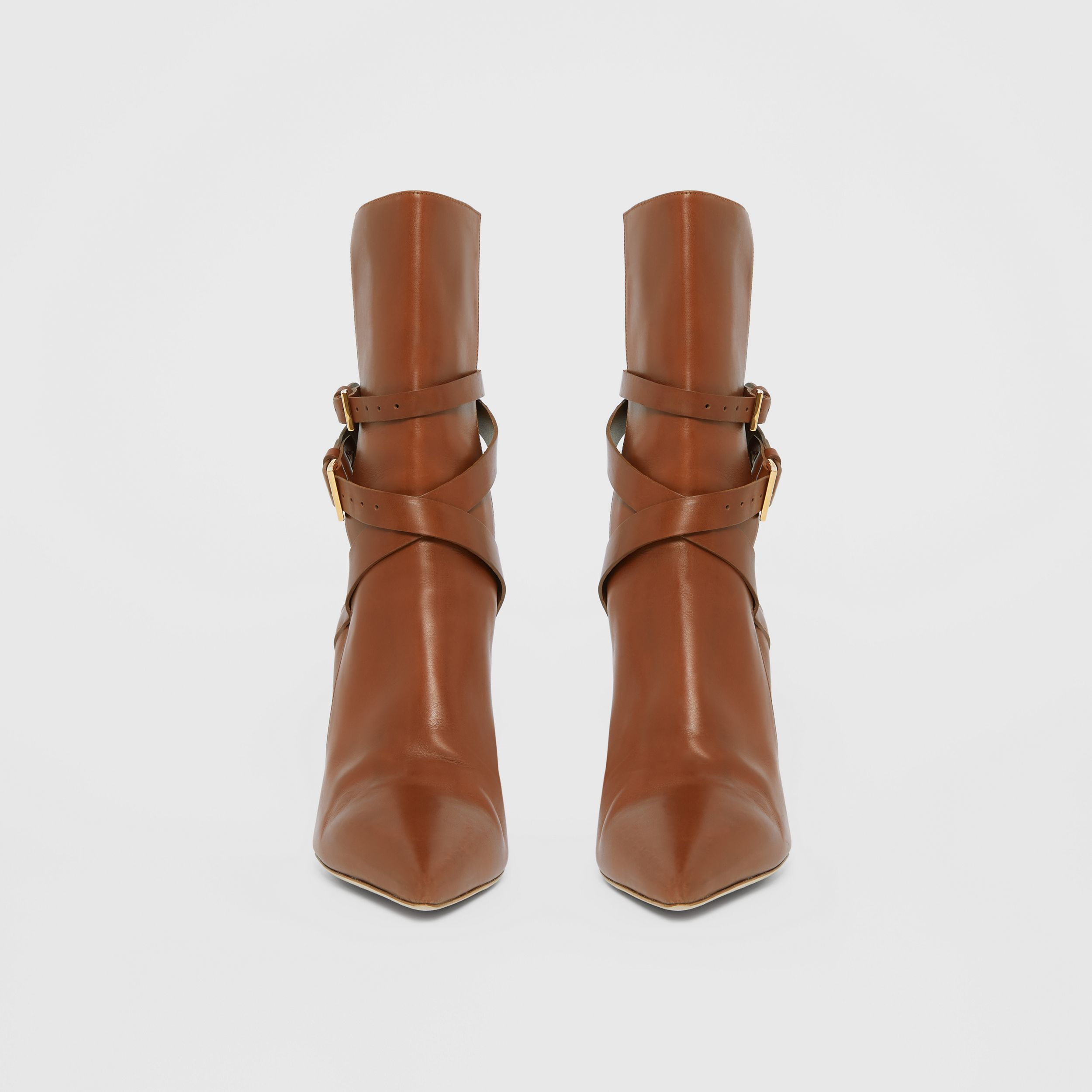 Strap Detail Leather Ankle Boots in Tan - Women | Burberry - 4
