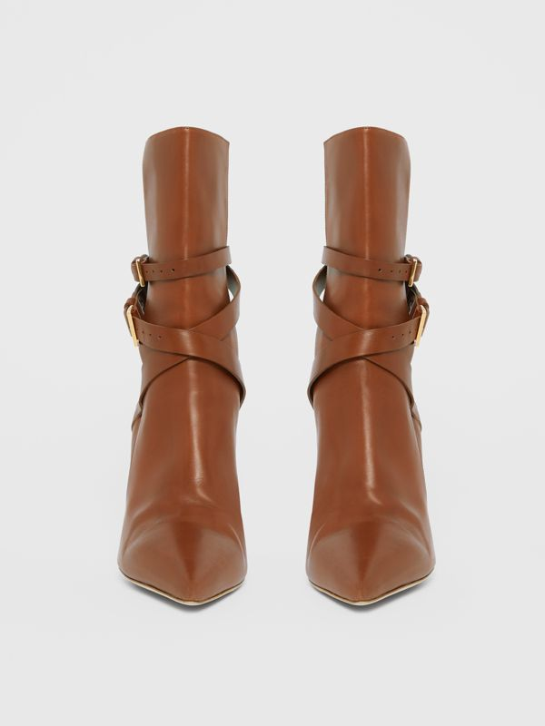 Strap Detail Leather Ankle Boots in Tan - Women | Burberry Hong Kong S.A.R - cell image 3