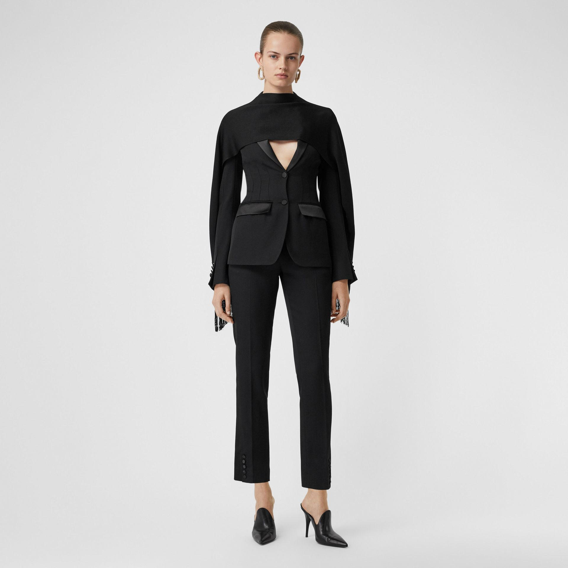 Satin Stripe Wool Tailored Trousers in Black - Women | Burberry United Kingdom - gallery image 0