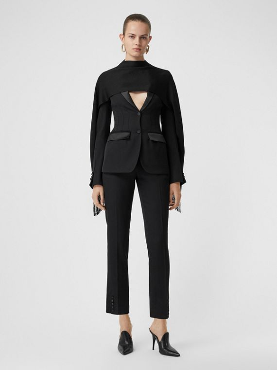 Satin Stripe Wool Tailored Trousers in Black