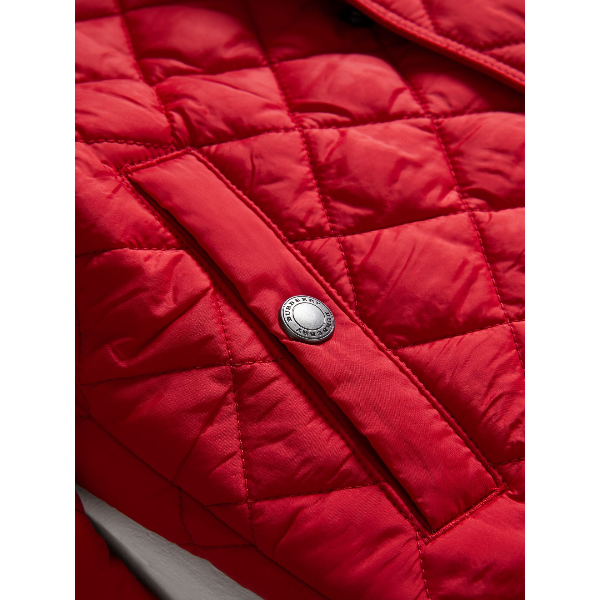 Diamond Quilted Jacket in Bright Cherry Red - Boy | Burberry United Kingdom - gallery image 1