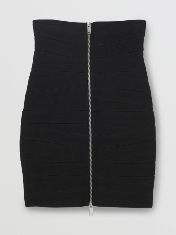 Stretch Zip-front Bandage Skirt in Black