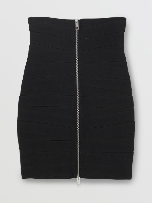 Stretch Zip-front Bandage Skirt in Black - Women | Burberry United Kingdom - cell image 3