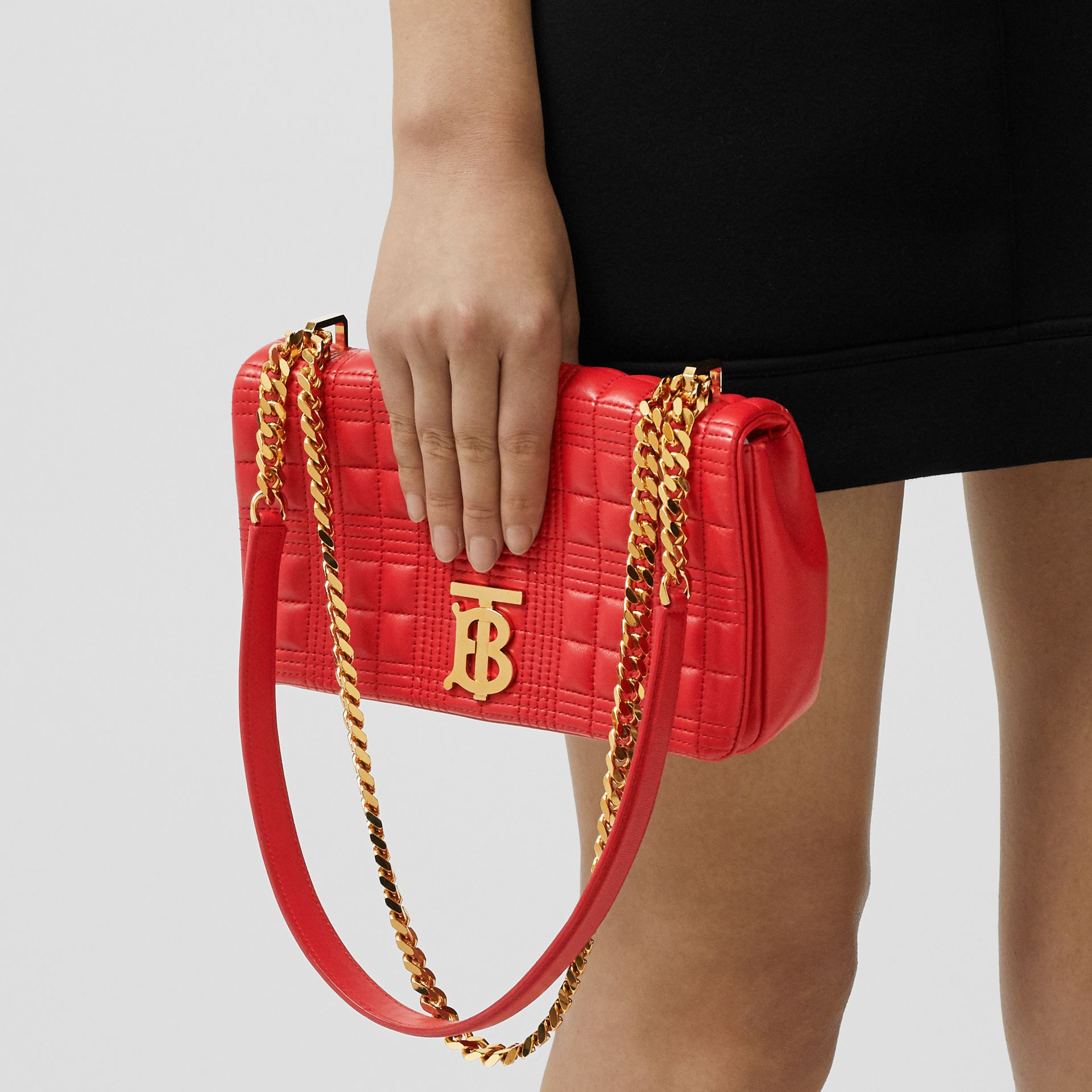Small Quilted Check Lambskin Lola Bag in Bright Red - Women | Burberry - gallery image 8