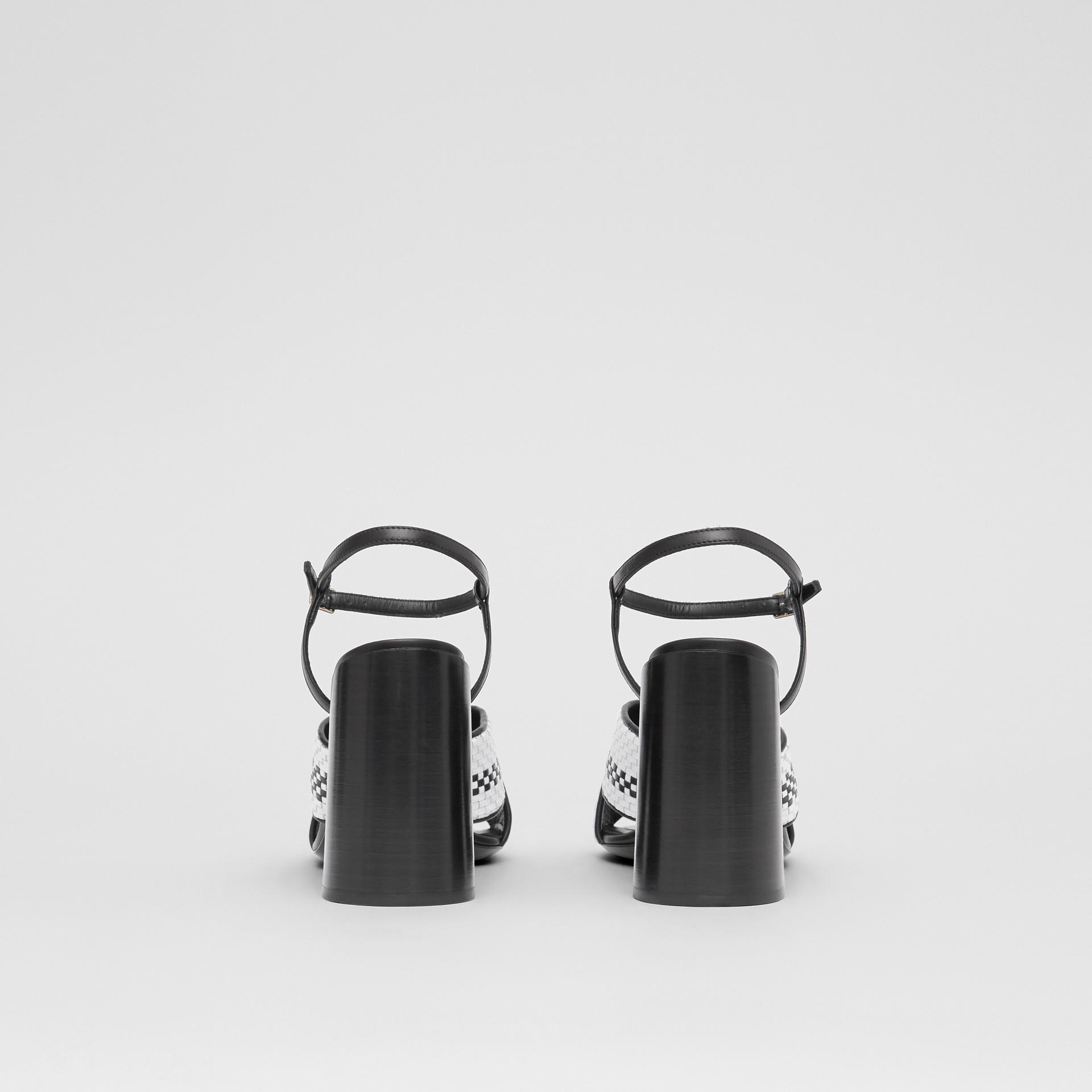 Latticed Leather Block-heel Sandals in Black/white - Women | Burberry - gallery image 4