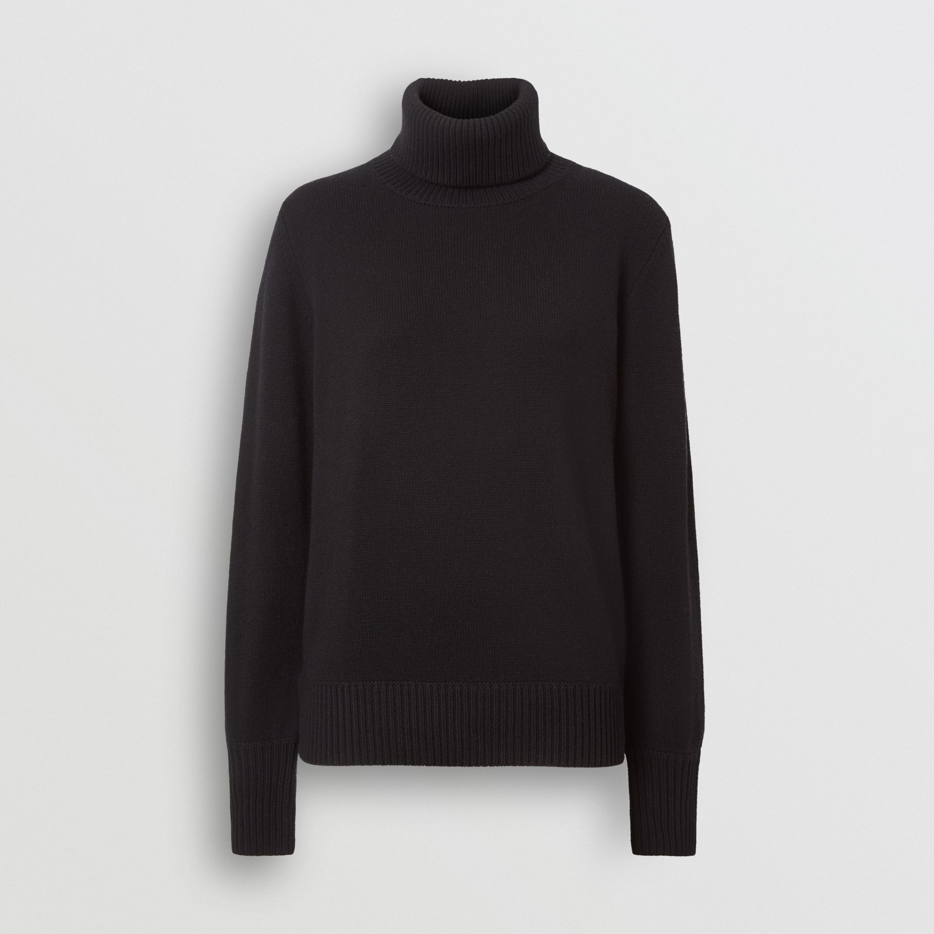 Embroidered Crest Cashmere Roll-neck Sweater in Black - Women | Burberry Australia - gallery image 3
