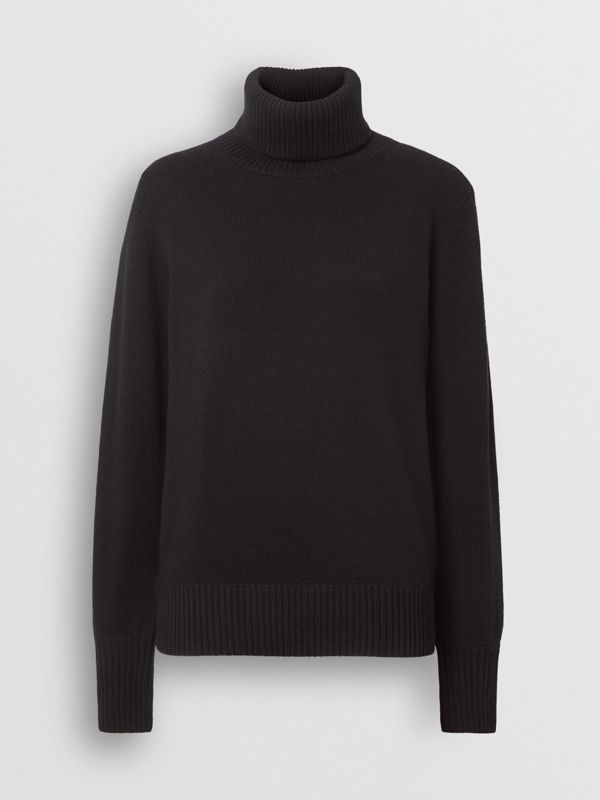 Embroidered Crest Cashmere Roll-neck Sweater in Black - Women | Burberry United Kingdom - cell image 3