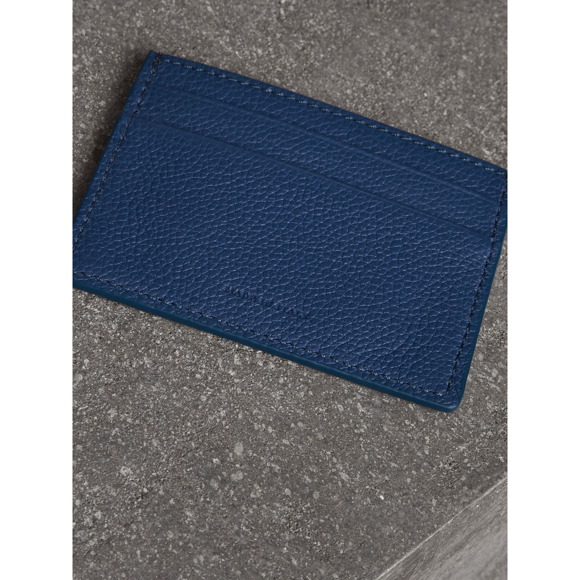 Grainy Leather Card Case in Bright Ultramarine | Burberry - gallery image 2