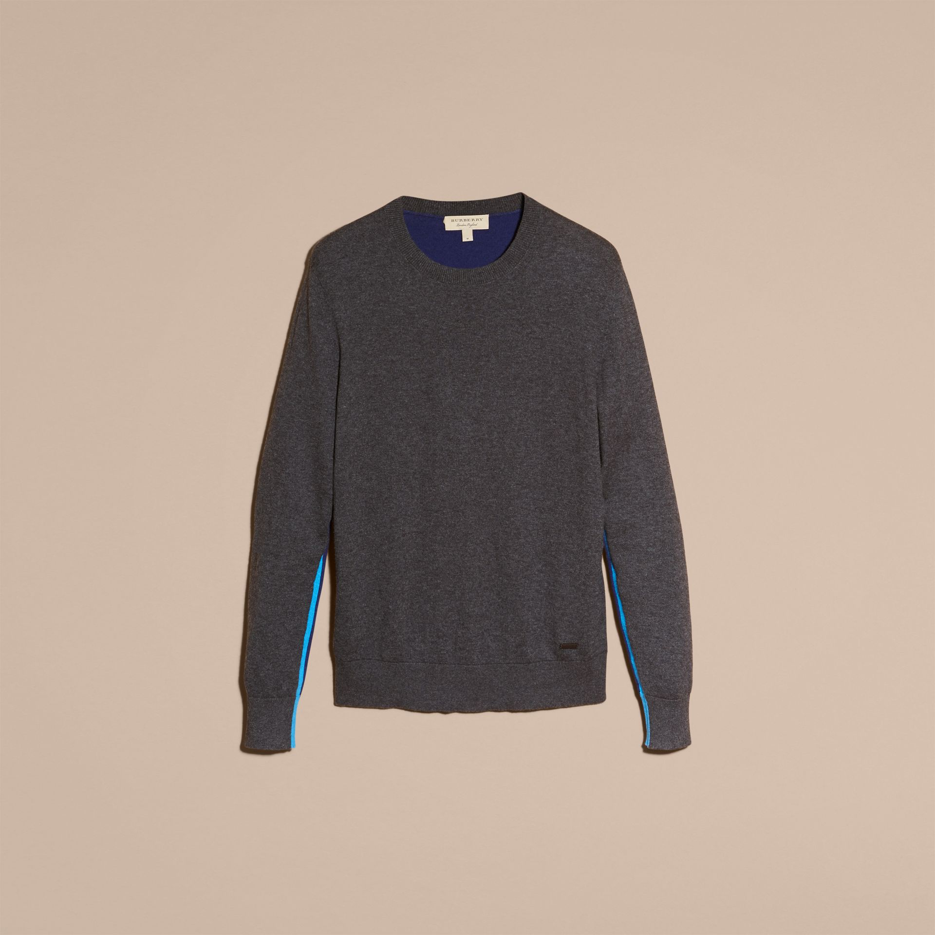 Dark grey melange Colour Block Cashmere Cotton Sweater - gallery image 4