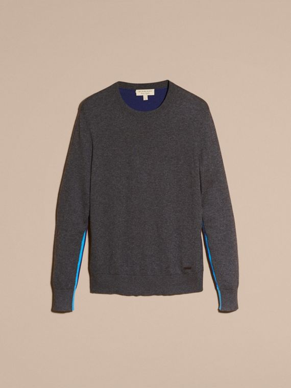 Dark grey melange Colour Block Cashmere Cotton Sweater - cell image 3