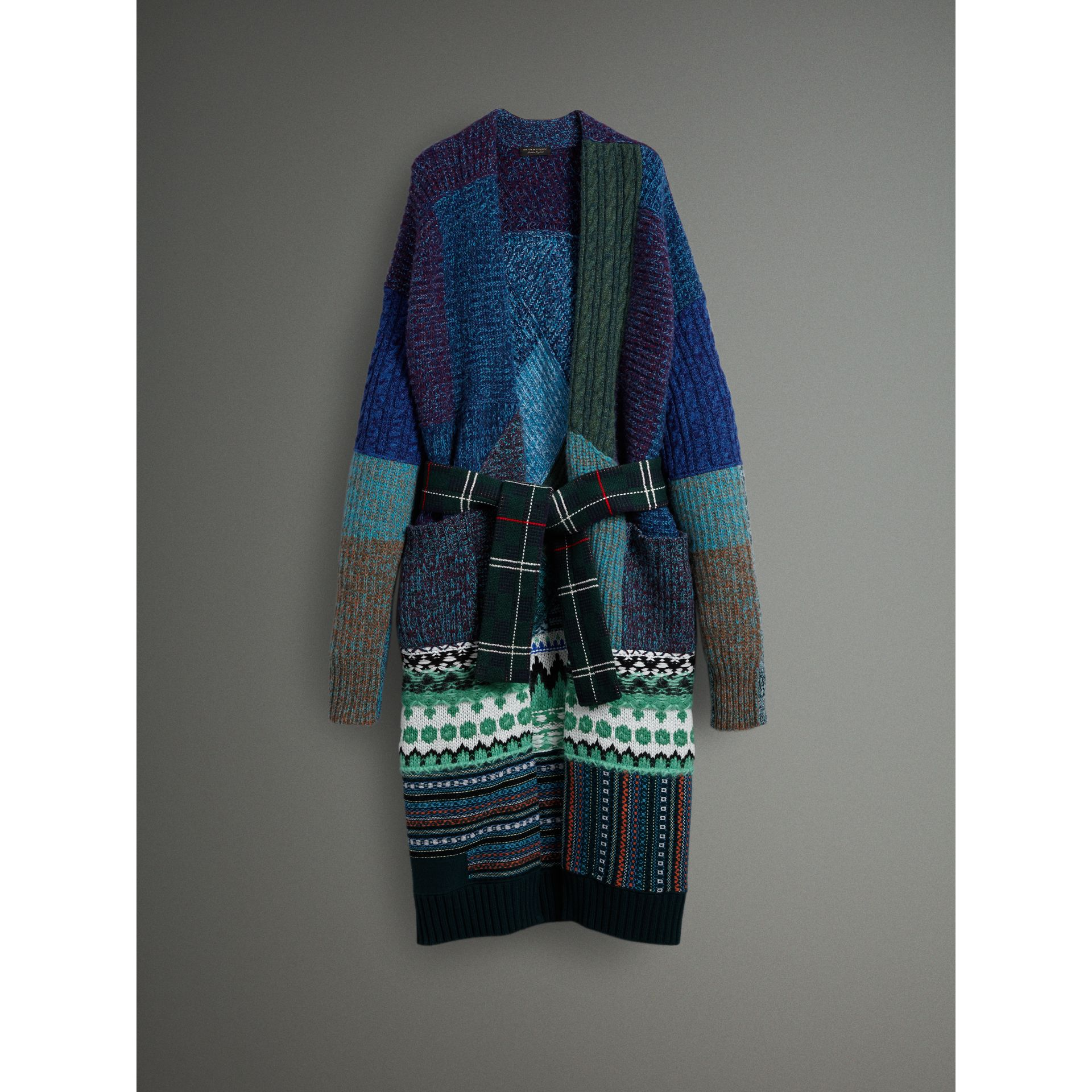 Cashmere Wool Mohair Patchwork Cardigan Coat in Hydrangea Blue - Women | Burberry - gallery image 3