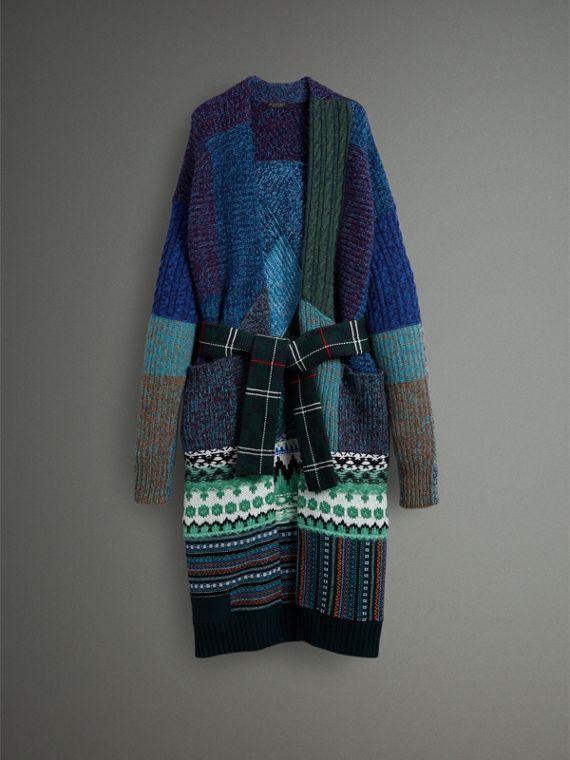 Cashmere Wool Mohair Patchwork Cardigan Coat in Hydrangea Blue - Women | Burberry - cell image 3