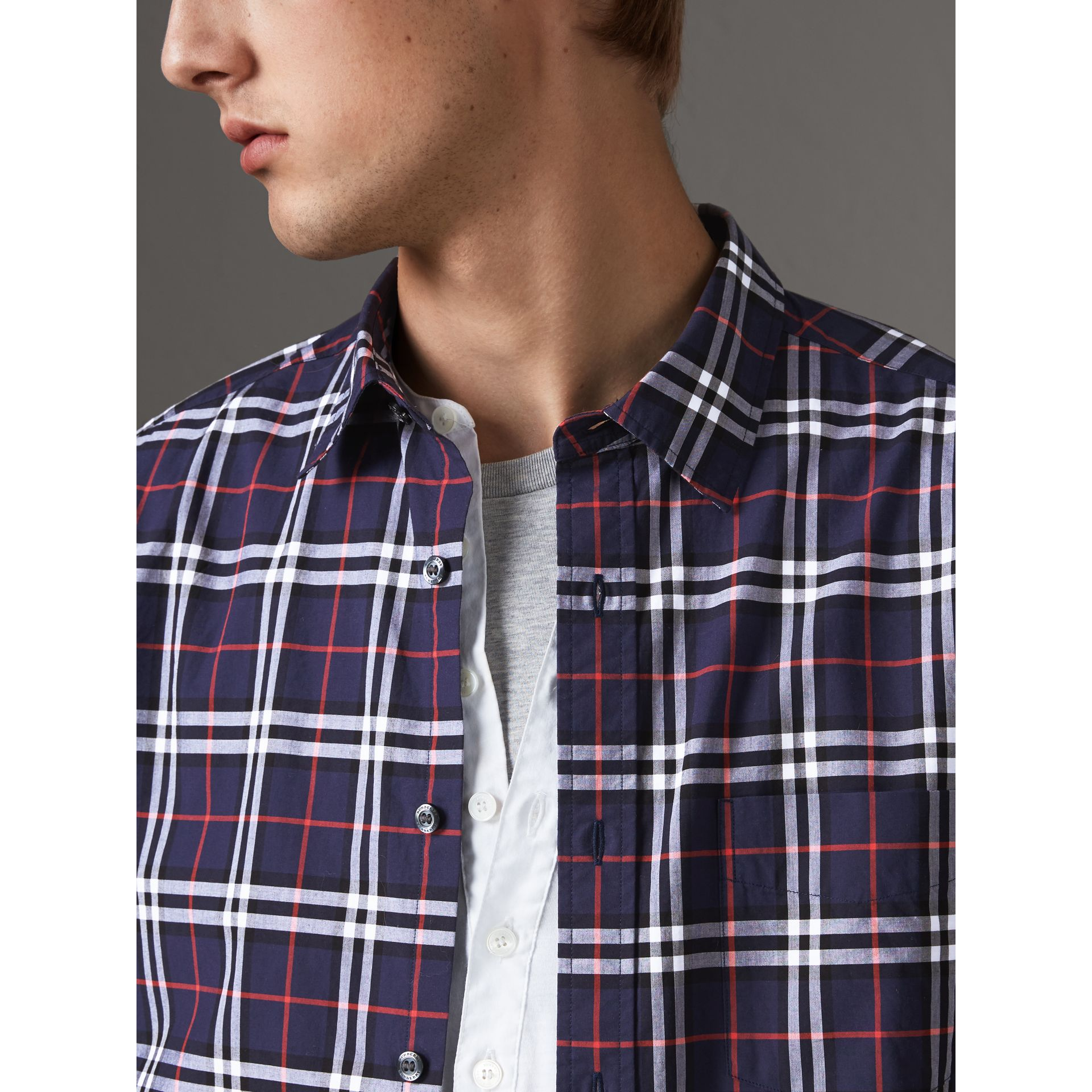 Check Cotton Shirt in Navy - Men | Burberry Singapore - gallery image 2