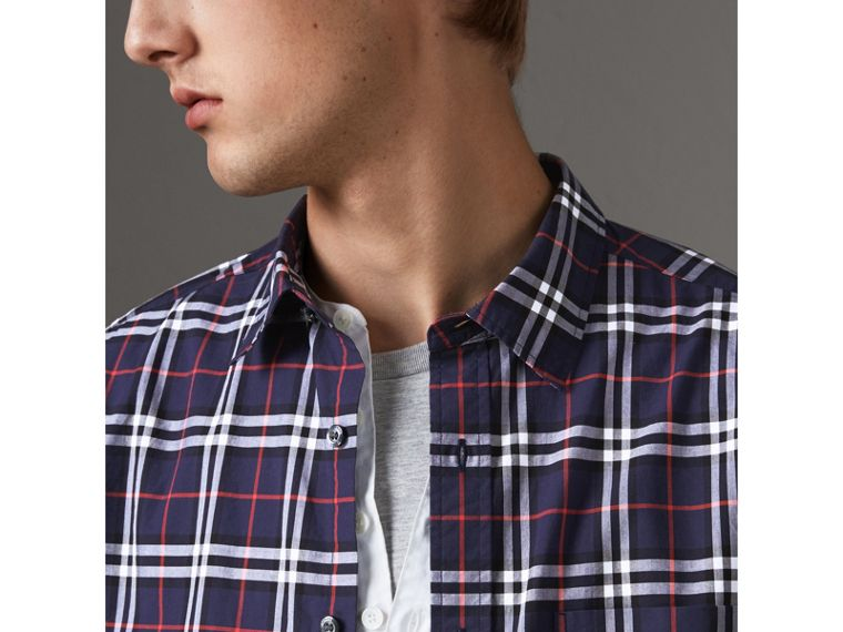 Check Cotton Shirt in Navy - Men | Burberry United Kingdom - cell image 1