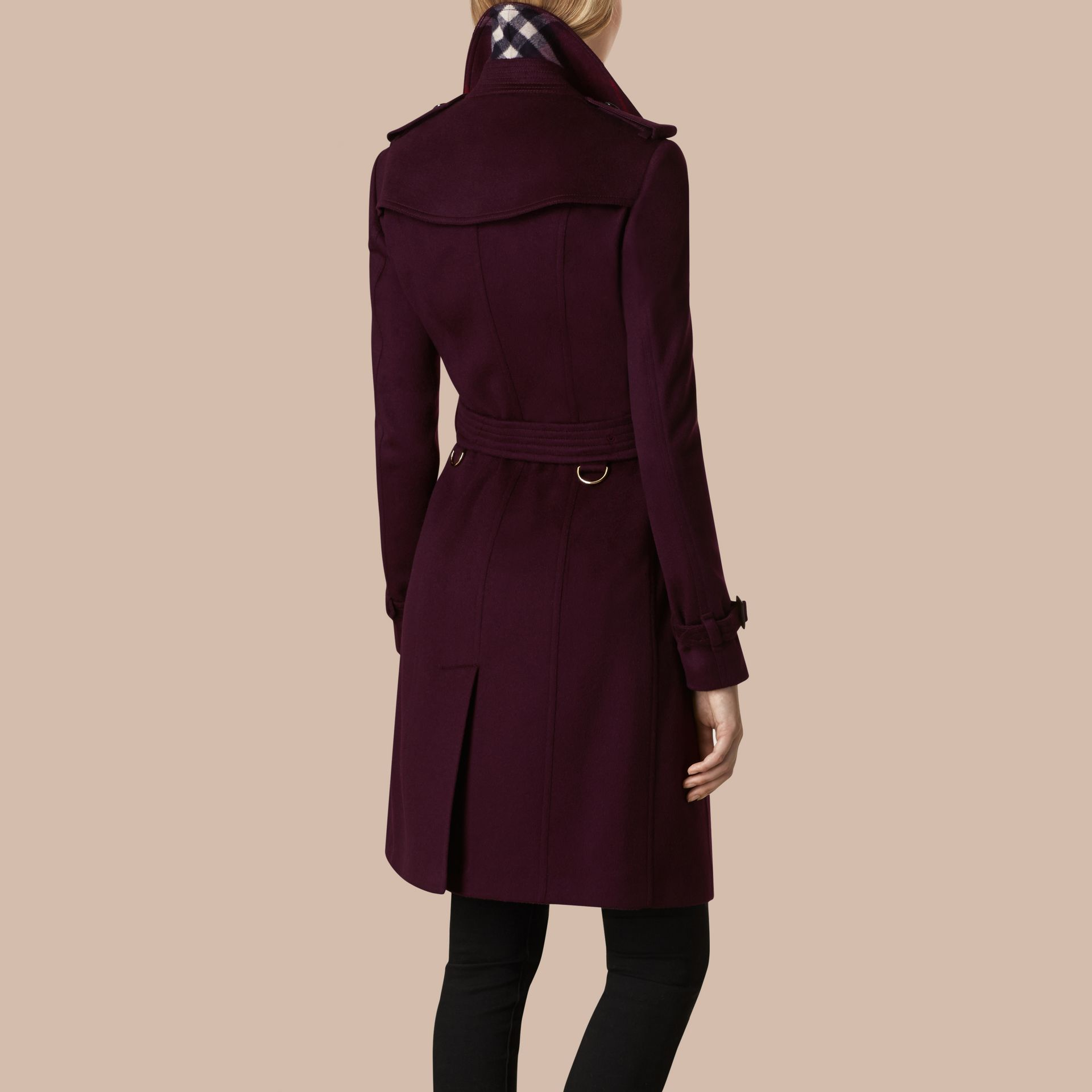 Plum Sandringham Fit Cashmere Trench Coat Plum - gallery image 3