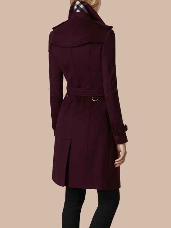 Plum Sandringham Fit Cashmere Trench Coat Plum - cell image 2