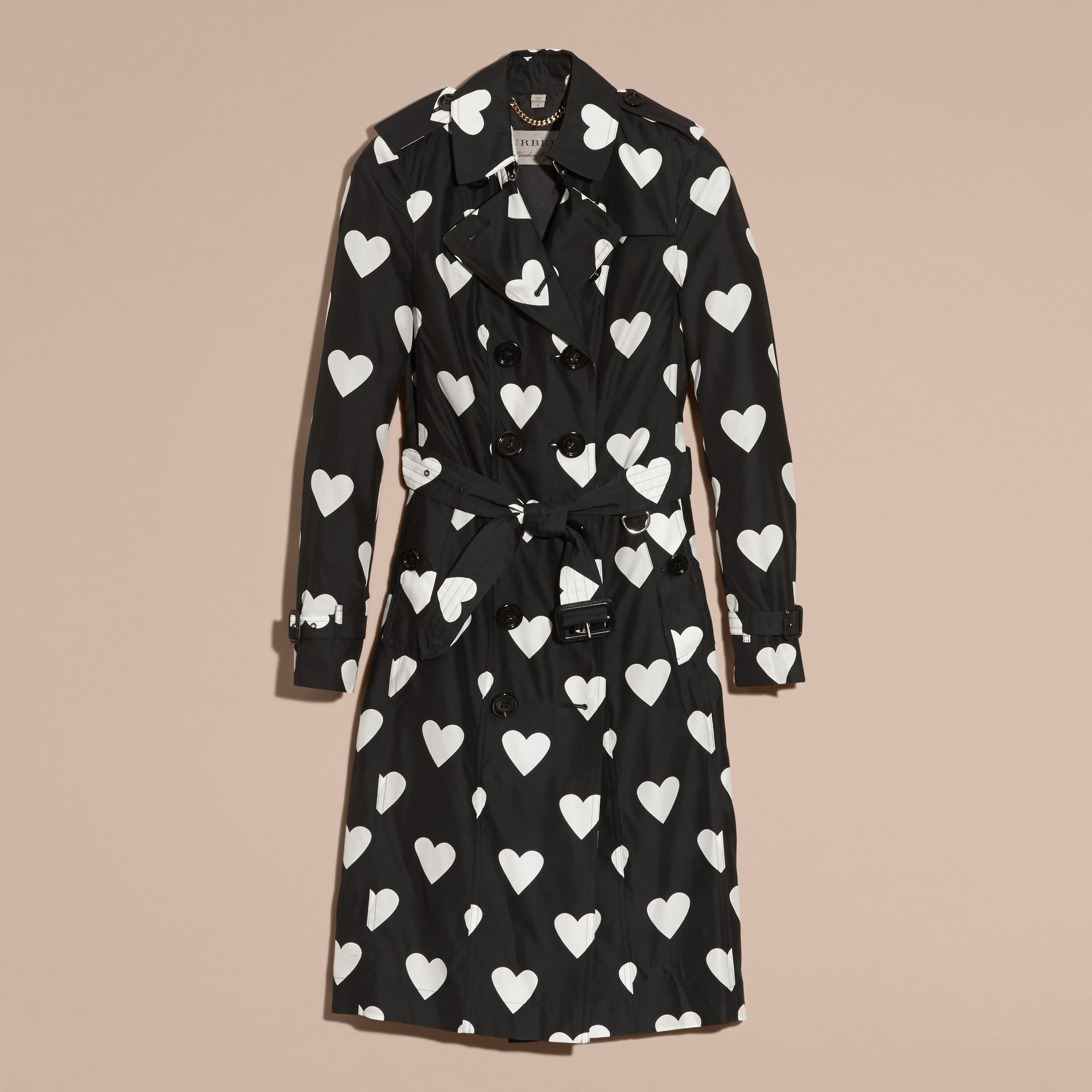 Black / white Lightweight Heart Print Silk Wool Trench Coat - gallery image 4