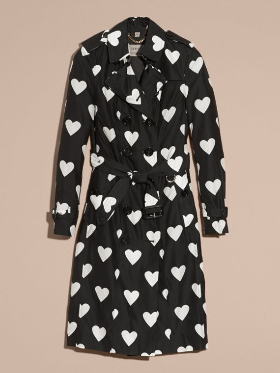 Black / white Lightweight Heart Print Silk Wool Trench Coat - cell image 3