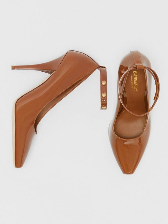 Triple Stud Patent Leather Point-toe Pumps in Tan
