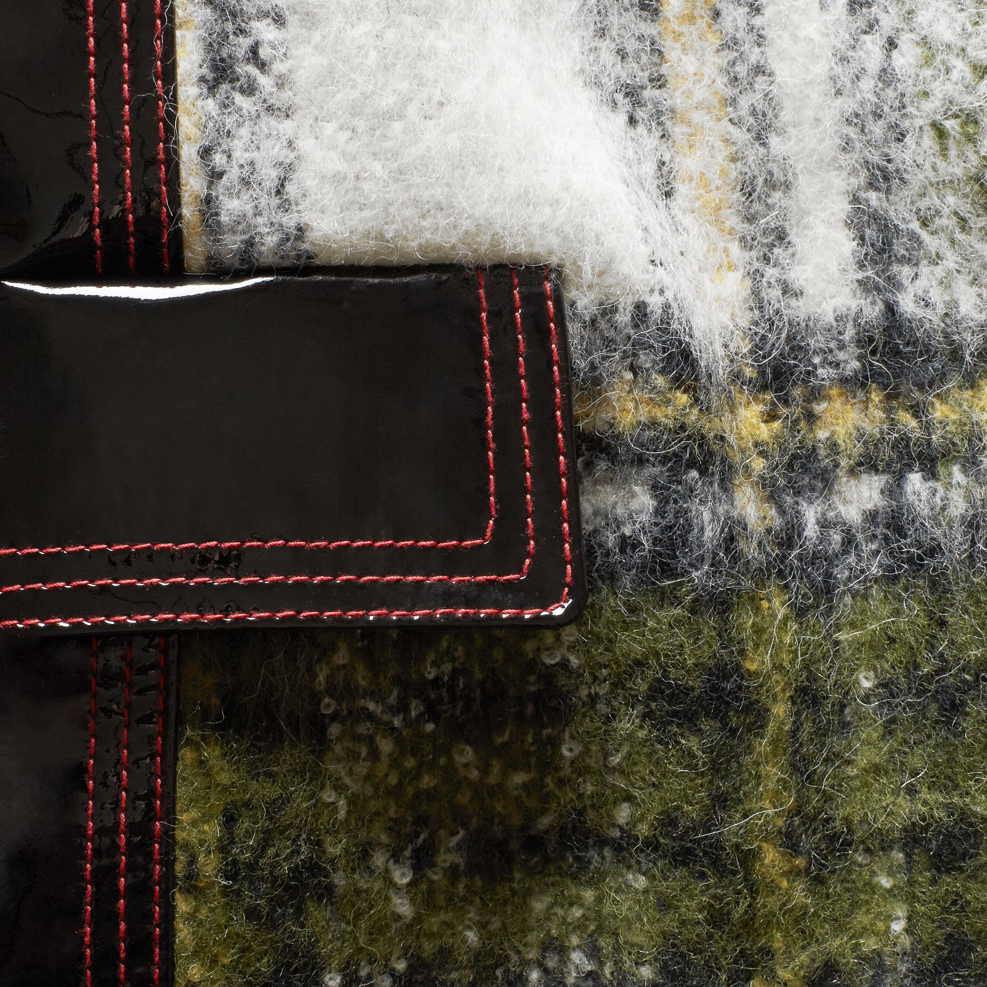 Forest green Brushed Tartan Wool Mohair Coat - gallery image 2