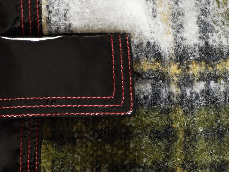 Forest green Brushed Tartan Wool Mohair Coat - cell image 1
