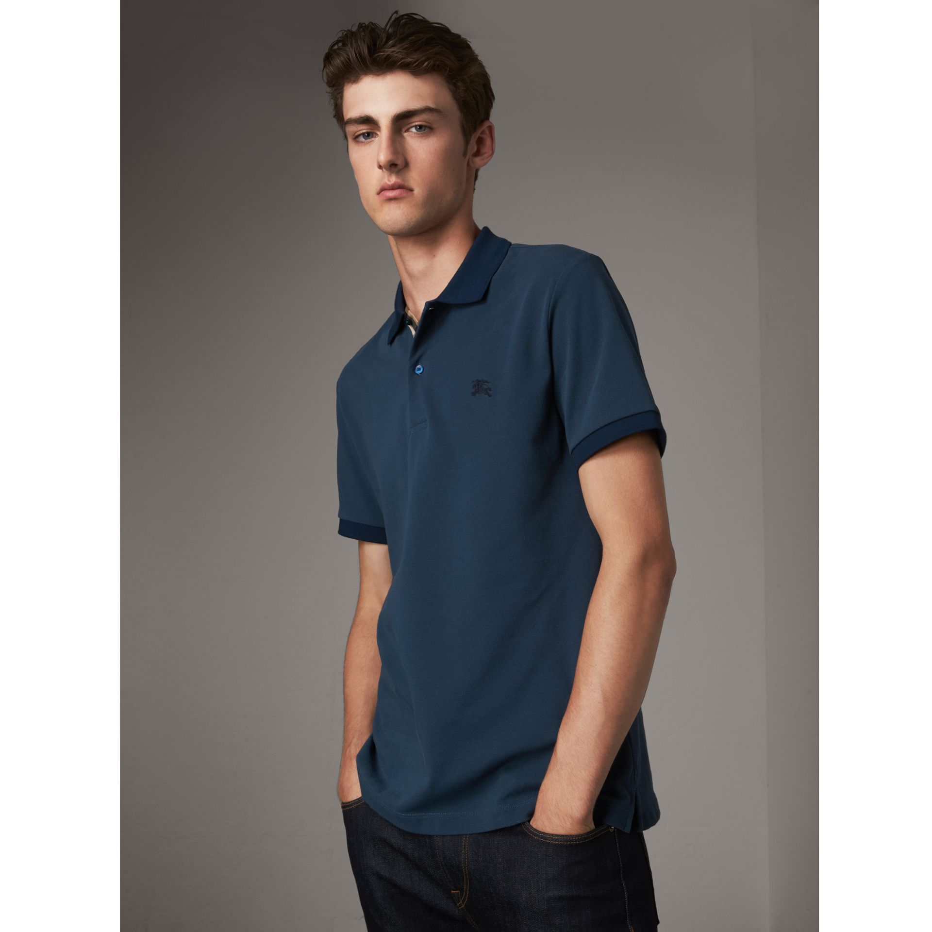 Cotton Piqué Polo Shirt in Canvas Blue - Men | Burberry Singapore - gallery image 1