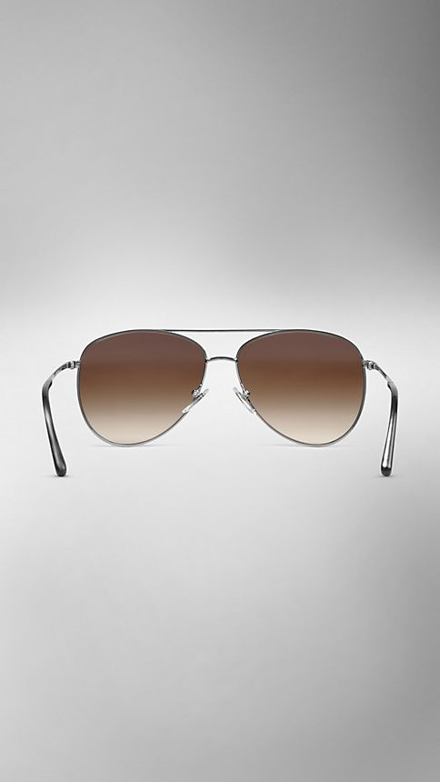 Nickel Check Arm Aviator Sunglasses - Image 3