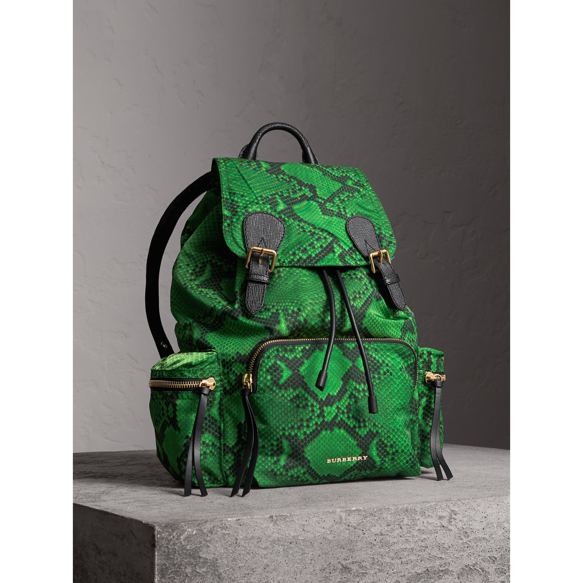 The Large Rucksack in Python Print Nylon and Leather in Green - Women | Burberry - gallery image 7