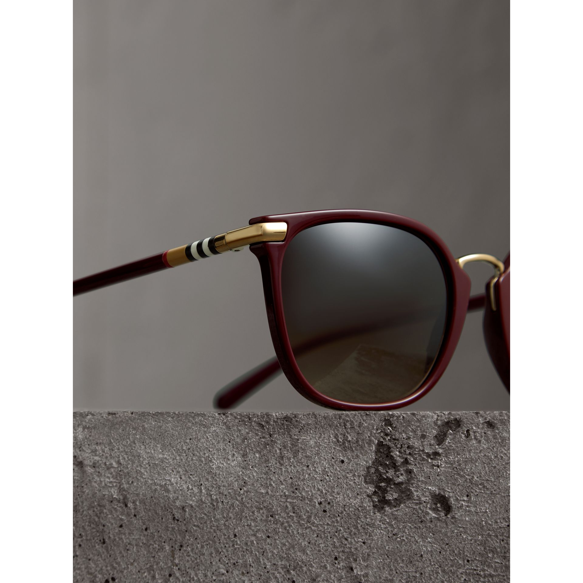 Check Detail Square Frame Sunglasses in Burgundy - Women | Burberry Canada - gallery image 1
