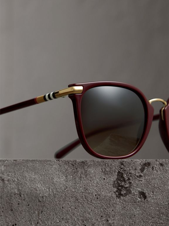 Check Detail Square Frame Sunglasses in Burgundy - Women | Burberry Canada - cell image 1